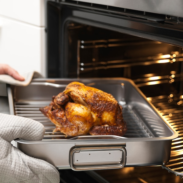 """KONCIS Roasting pan with grill rack, stainless steel, 16x13 """""""