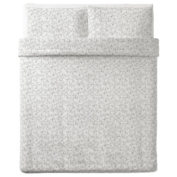 "KOPPARRANKA duvet cover and pillowcase(s) white/dark gray 152 /inch² 2 pack 86 "" 86 "" 20 "" 30 """