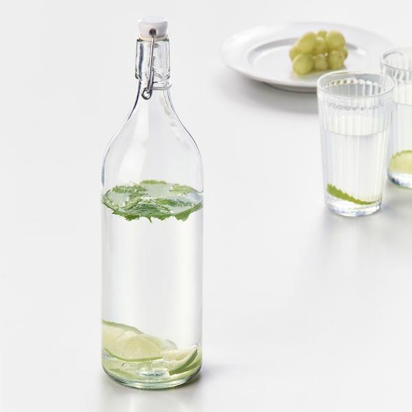 KORKEN Bottle with stopper, clear glass, 34 oz