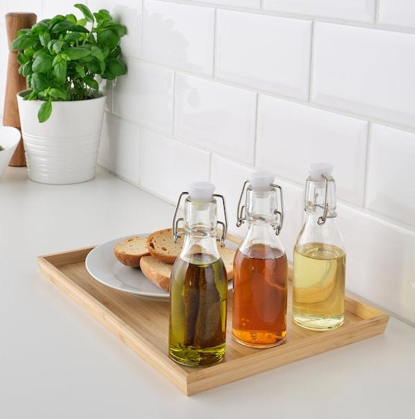 KORKEN Bottle with stopper, clear glass, 5 oz