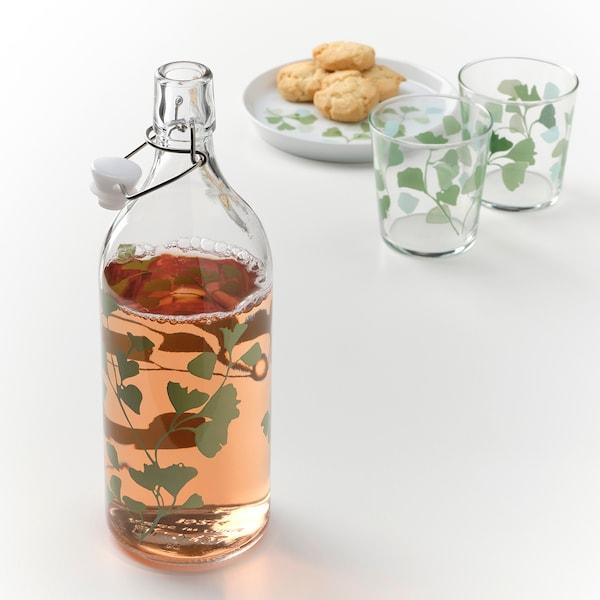 KORKEN Bottle with stopper, glass/printed, 34 oz