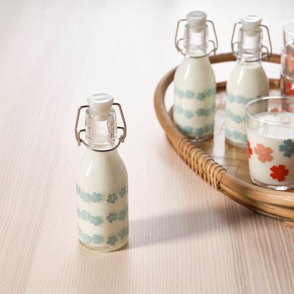 KORKEN Bottle with stopper, patterned, 5 oz