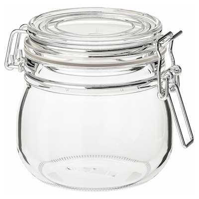 KORKEN Jar with lid, clear glass, 17 oz