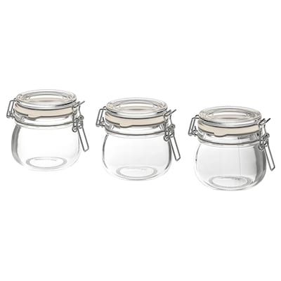 "KORKEN jar with lid clear glass 2 ¾ "" 2 ¾ "" 4 oz 3 pack"