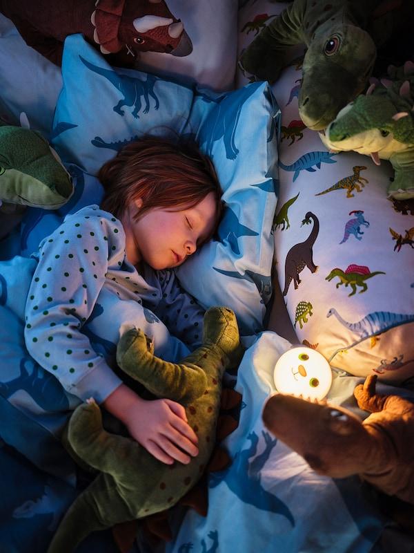 KORNSNÖ LED night light, white/rabbit battery operated