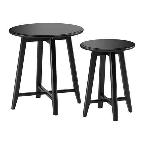 Kragsta nesting tables set of 2 black ikea for Table gigogne ikea