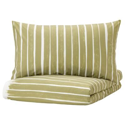 """KRANSRAMS duvet cover and pillowcase(s) white/green 152 /inch² 2 pack 86 """" 102 """" 20 """" 36 """""""