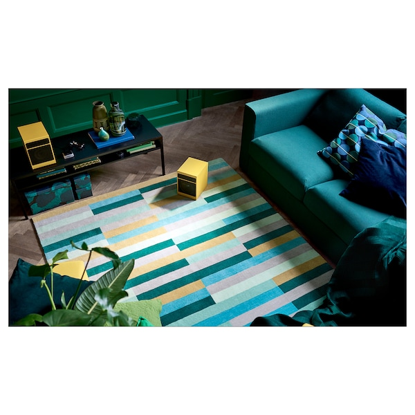 "KRÖNGE rug, low pile handmade/multicolor 7 ' 10 "" 5 ' 7 "" 43.92 sq feet 9.86 oz/sq ft 7.86 oz/sq ft ¼ """