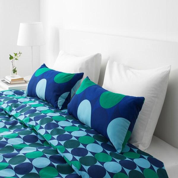 """KROKUSLILJA Cushion, blue/green, 12x24 """""""