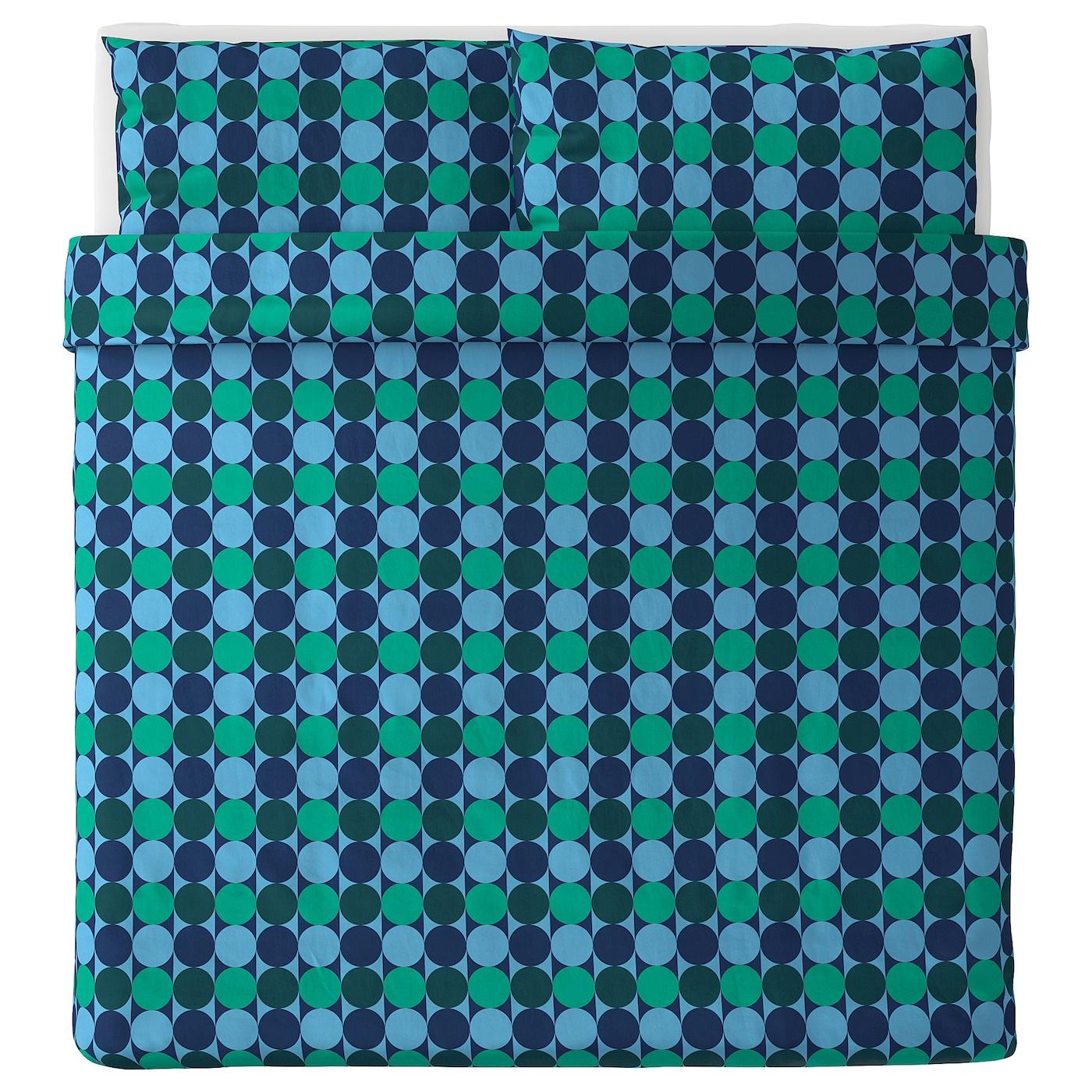 NEW Ikea KROKUSLILJA Full//Queen Duvet Cover w//2 Pillowcases Bed Set Blue//Green