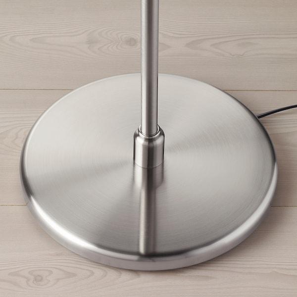 KRYSSMAST Floor lamp base with LED bulb, nickel plated
