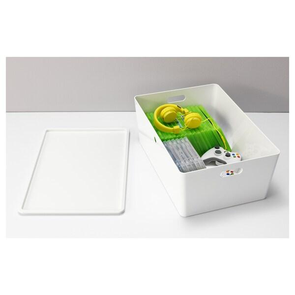 "KUGGIS Box with lid, white, 14 ½x21 ¼x8 ¼ """
