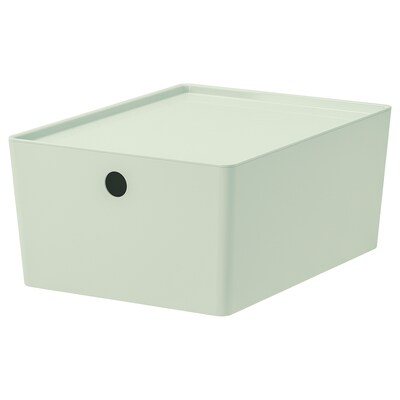 KUGGIS Storage box with lid, light green, 10 ¼x13 ¾x6 ""