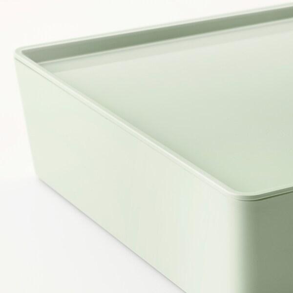 "KUGGIS storage box with lid light green 10 ¼ "" 13 ¾ "" 3 ¼ """