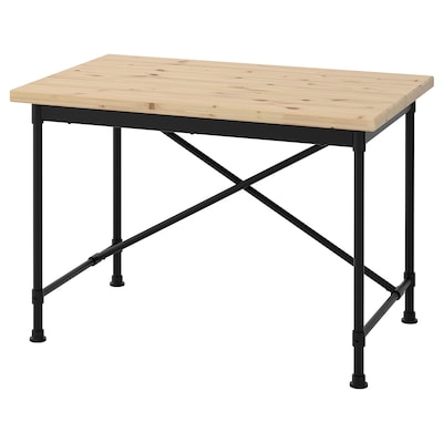 KULLABERG Desk, pine/black, 43 1/4x27 1/2 ""