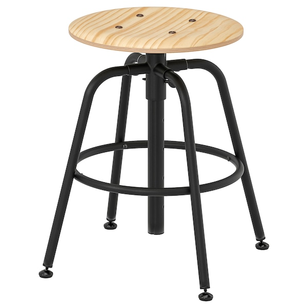 "KULLABERG stool pine/black 243 lb 13 3/8 "" 14 1/8 "" 14 1/8 "" 18 1/2 "" 27 1/8 """