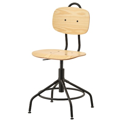 "KULLABERG swivel chair pine/black 243 lb 22 7/8 "" 22 7/8 "" 37 "" 16 1/2 "" 15 3/8 "" 17 3/8 "" 21 5/8 """