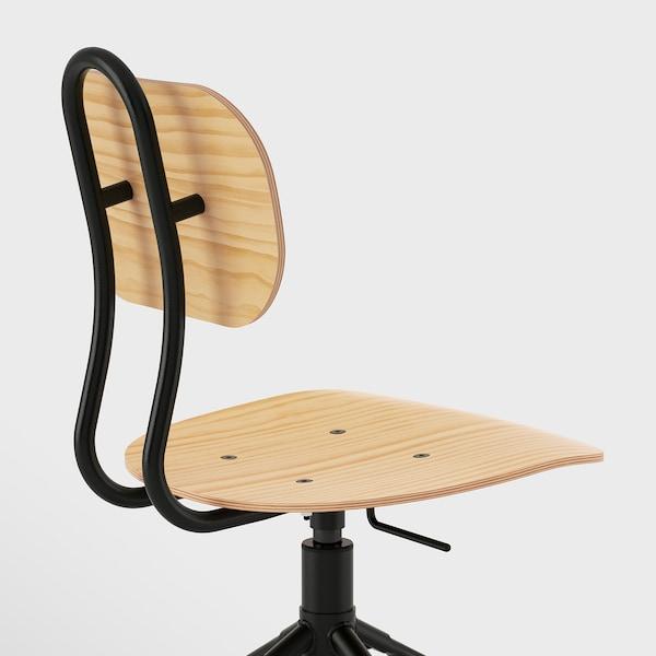 "KULLABERG swivel chair pine/black 243 lb 22 7/8 "" 22 7/8 "" 37 "" 16 1/2 "" 15 3/8 "" 17 3/8 "" 21 5/8 """