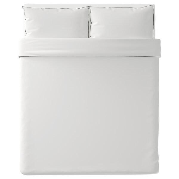 "KUNGSBLOMMA duvet cover and pillowcase(s) white/gray 200 /inch² 2 pack 86 "" 86 "" 20 "" 30 """