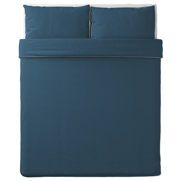 KUNGSBLOMMA Duvet cover and pillowcase(s), dark blue/white, Full/Queen (Double/Queen)