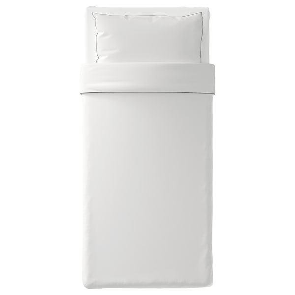 KUNGSBLOMMA Duvet cover and pillowcase(s), white/gray, Twin