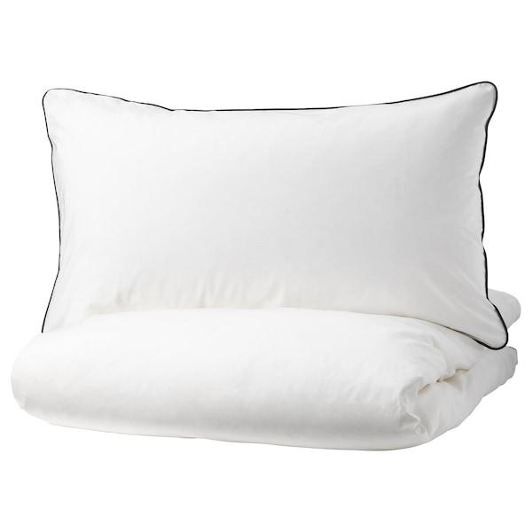 KUNGSBLOMMA Duvet cover and pillowcase(s), white/gray, King