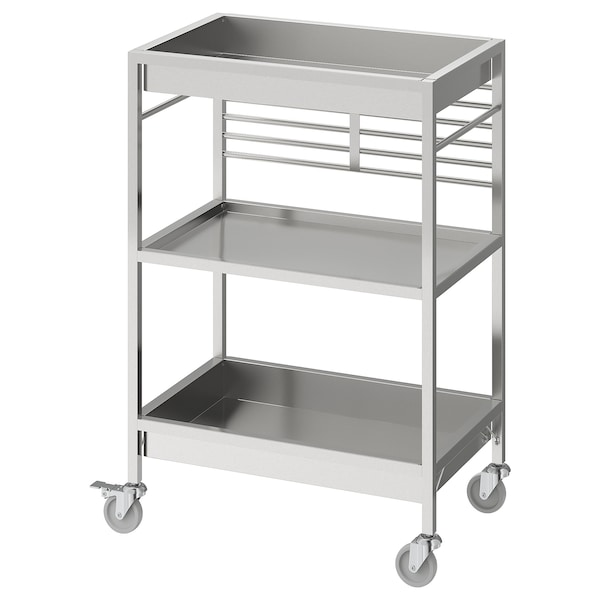 """KUNGSFORS Kitchen cart, stainless steel, 23 5/8x15 3/4 """""""
