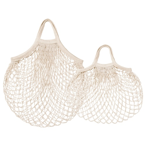 KUNGSFORS mesh bag, set of 2 natural 2 pieces