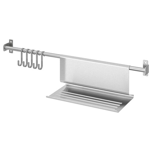"""KUNGSFORS rail with 5 hooks and tablet stand stainless steel 22 """""""