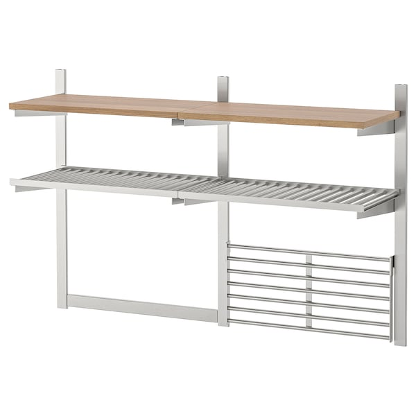 Wall storage with grid + knife rack KUNGSFORS stainless steel, ash veneer