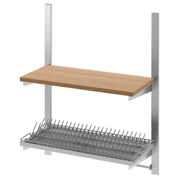 KUNGSFORS Susp rail w shelf/rail/dish dra, stainless steel/ash