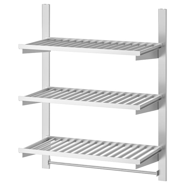 KUNGSFORS suspension rail w shelves and rail stainless steel