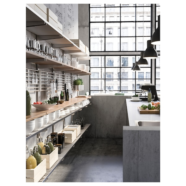 KUNGSFORS Suspension rail with shelf/wll grid, stainless steel/ash