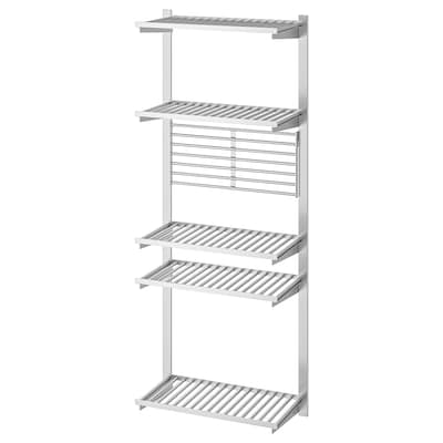 KUNGSFORS suspension rail with shelf/wll grid stainless steel