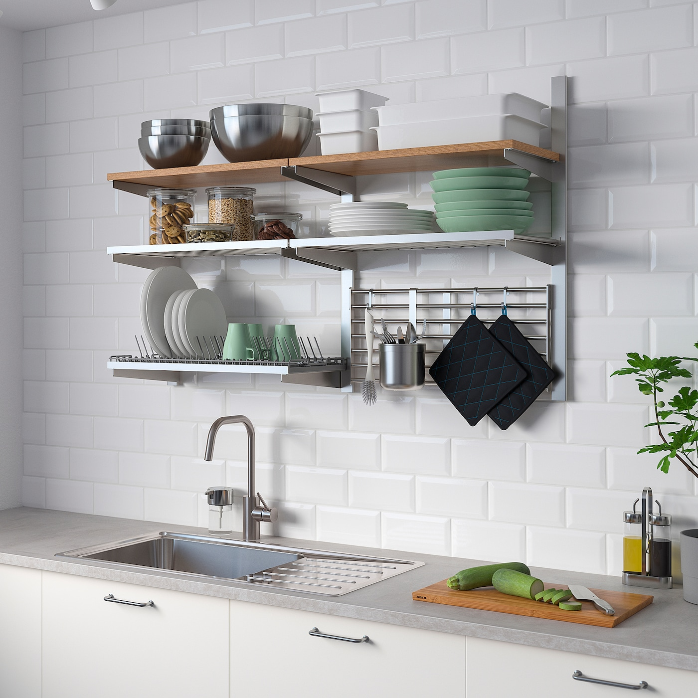 Kungsfors Wall Grid With Storage Stainless Steel Ash Ikea