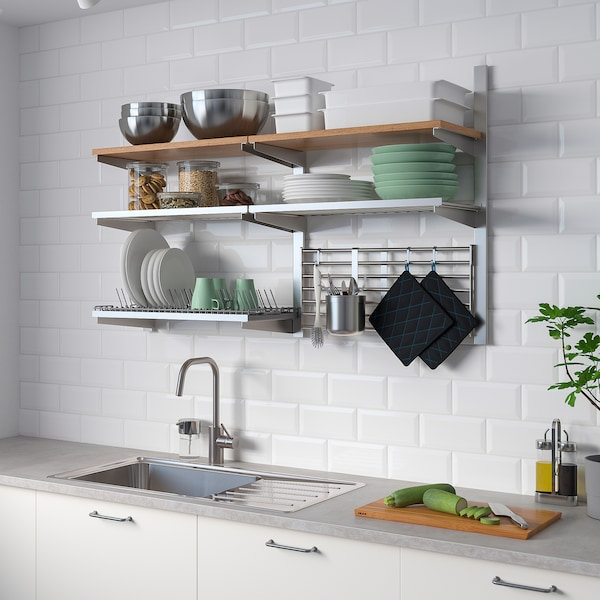 KUNGSFORS Wall grid with storage, stainless steel/ash