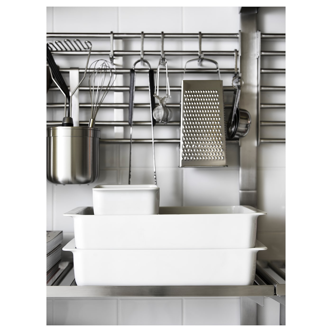 KUNGSFORS Wall rack, stainless steel