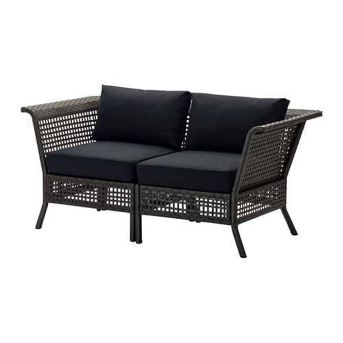 kungsholmen kungs loveseat outdoor black brown ikea. Black Bedroom Furniture Sets. Home Design Ideas