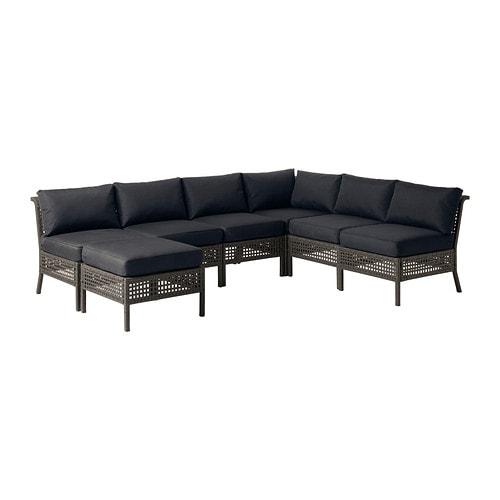 KUNGSHOLMEN / KUNGSÖ 6-seat sectional + stool, outdoor, black-brown, black black-brown/black