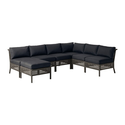 KUNGSHOLMEN / KUNGSÖ 6-seat sectional + stool, outdoor IKEA