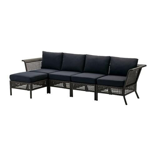 KUNGSHOLMEN / KUNGSÖ 4-seat sofa with footstool, outdoor, black-brown, black black-brown/black