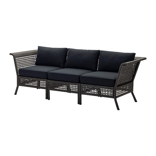 Kungsholmen kungs sofa outdoor black brown ikea for Sofa exterior jardin