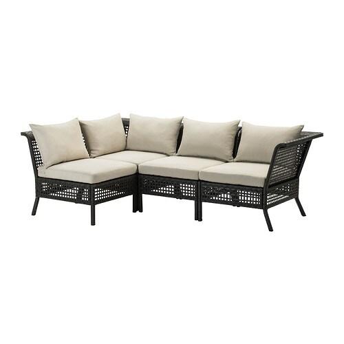 KUNGSHOLMEN Modular corner sofa 3-seat, outdoor, black-brown, Kuddarna  beige Hållö beige