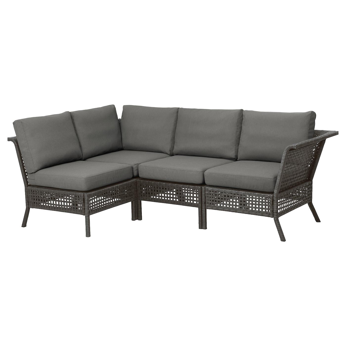 KUNGSHOLMEN Modular corner sofa 3-seat, outdoor, black-brown,  Frösön/Duvholmen dark gray