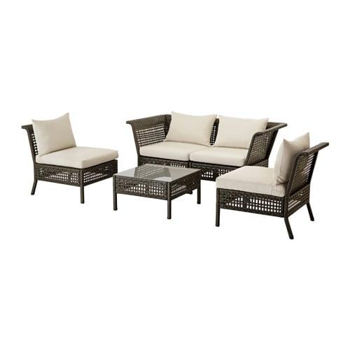 KUNGSHOLMEN 4-seat conversation set, outdoor, black-brown, Hållö beige beige black-brown/Hållö beige
