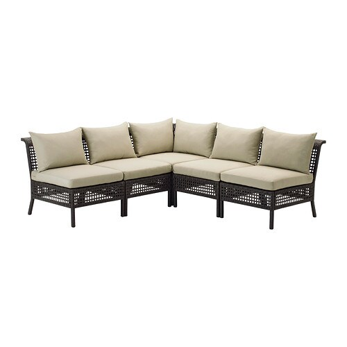 KUNGSHOLMEN 5-seat sectional, outdoor, black-brown, Hållö beige beige black-brown/Hållö beige