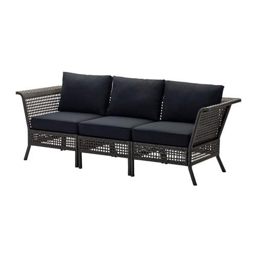 KUNGSHOLMEN Sofa, outdoor, black-brown, Kungsö black black black-brown/Kungsö black