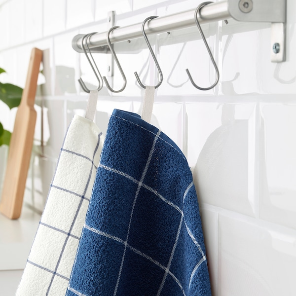 KUNGSKAKTUS Dish towel, check pattern/dark blue/white, 16x24 ""