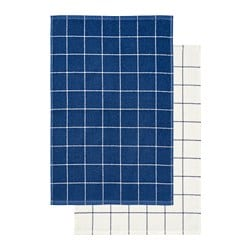 KUNGSKAKTUS dish towel, check pattern, dark blue/white