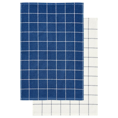 "KUNGSKAKTUS dish towel check pattern/dark blue/white 24 "" 16 "" 2 pack"